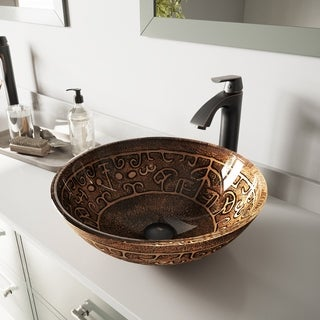 VIGO Golden Greek Glass Vessel Bathroom Sink Set with Linus Faucet