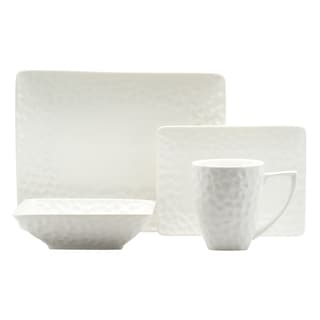 Red Vanilla Marble 4-piece Rectangular Dinnerware Set