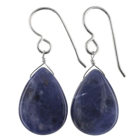 Silver Sodalite Gemstone Handmade Earrings