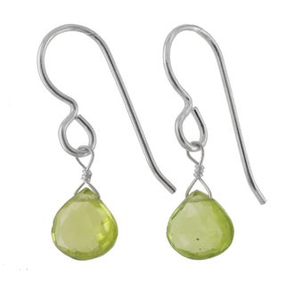 Ashanti Sterling Silver Genuine Peridot Gemstone Handmade Earrings (Sri Lanka)