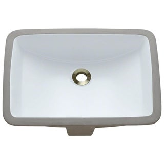MR Direct U1913-W White Rectangular Undermount Porcelain Bathroom Sink
