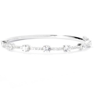 Platinum over Silver Cubic Zirconia Bracelet