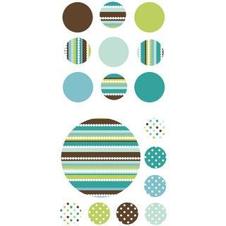 Aqua and Brown Dots Wall Art Kit