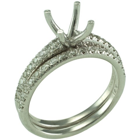 14k White Gold 2/5ct TDW Diamond Semi-mount Bridal Set