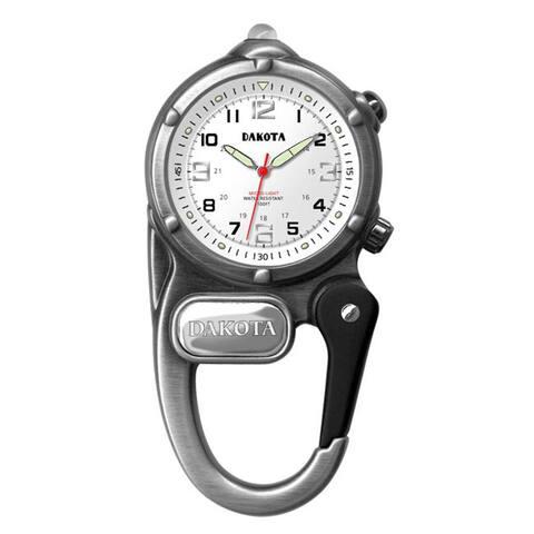 Dakota Men's 38426 Antique Silvertone Mini Clip Microlight Watch