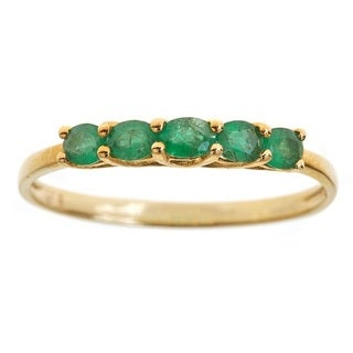 Anika and August 10k Yellow Gold Oval-cut Emerald Fashion Ring
