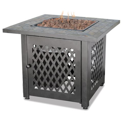 UniFlame Slate Outdoor LP Gas Fire Pit with Lava Rocks