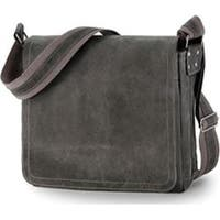 David King Leather 6111 Distressed North/South Messenger Bag Grey
