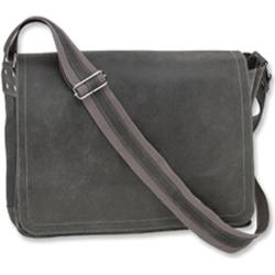 David King Grey Leather Large Distressed Laptop Messenger Bag