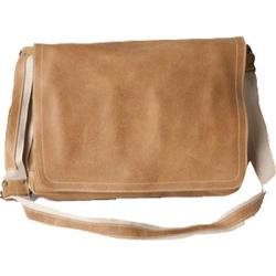 David King Leather 6153 Large Distressed Leather Laptop Messenger Bag Tan