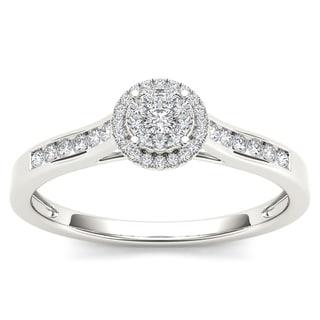 De Couer 10k White Gold 1/4ct TDW Diamond Engagement Ring