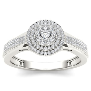 De Couer 10k White Gold 1/3ct TDW Diamond Composite Engagement Ring
