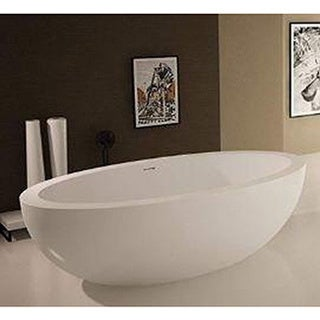 Atlantis Whirlpools Cabarita 42 x 75 Artificial Stone Freestanding Bathtub in White