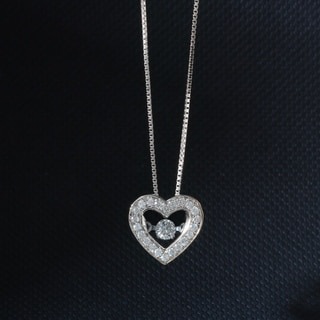 De Couer 10k Gold 1/5ct TDW Diamond Heart Beat Necklace