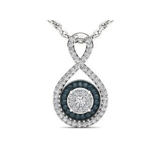 De Couer 10k White Gold 1/4ct TDW Blue and White Diamond Pendant (H-I, I2)