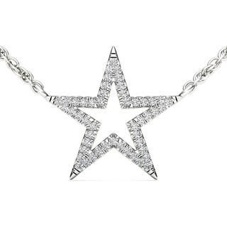 De Couer 10k White Gold 1/8ct TDW Diamond Star Necklace|https://ak1.ostkcdn.com/images/products/9546392/P16727396.jpg?impolicy=medium