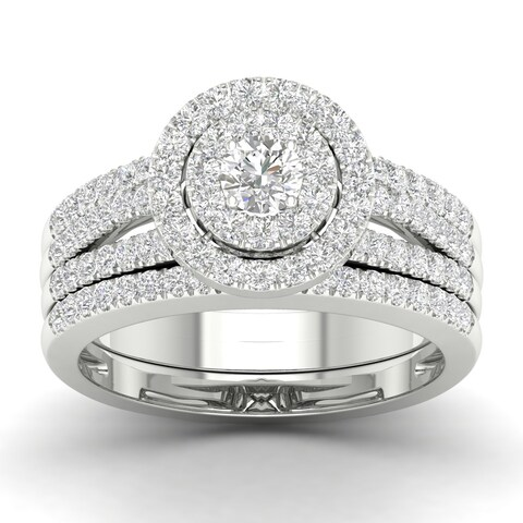 De Couer 10k White Gold 1ct TDW Diamond Double Halo Engagement Ring
