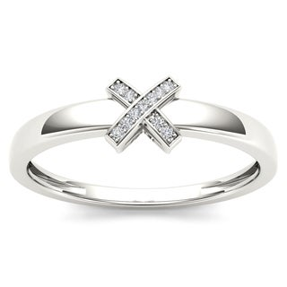 De Couer Sterling Silver 1/20ct TDW Diamond Accent X-shape Fashion Ring (H-I, I2)