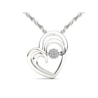 De Couer Sterling Silver 1/20ct TDW Diamond Heart Pendant (H-I, I2)