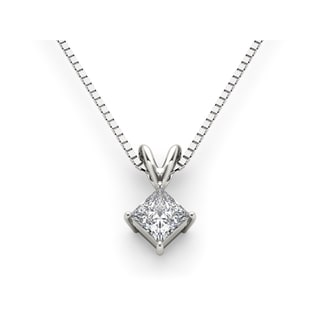 De Couer 14k White Gold 1 1/4ct TDW Princess-cut Diamond Solitaire Necklace (H-I, I2)