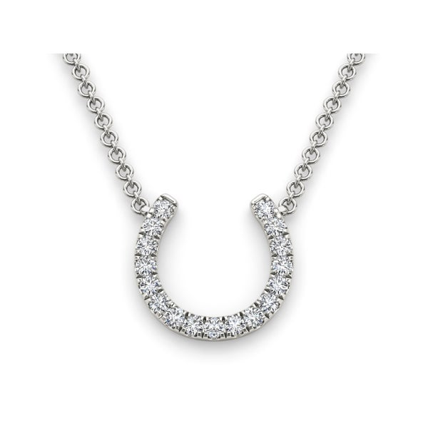 76682976f9848 De Couer IGI Certified 14k White Gold 1 3ct TDW Diamond Horseshoe Necklace