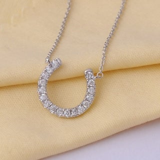De Couer 14k White Gold 1/3ct TDW Diamond Horseshoe Necklace