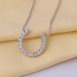 De Couer 14k White Gold 1/3ct TDW Diamond Horseshoe Necklace