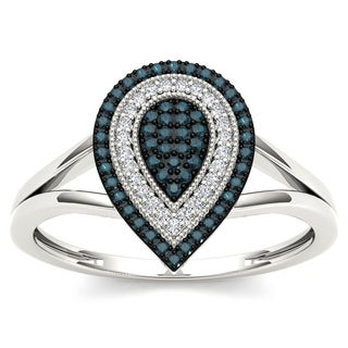 De Couer 10k White Gold 1/5ct TDW Blue and White Pear Shape Diamond Ring