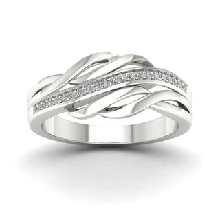 De Couer 10k White Gold 1/10ct TDW Diamond Fashion Ring