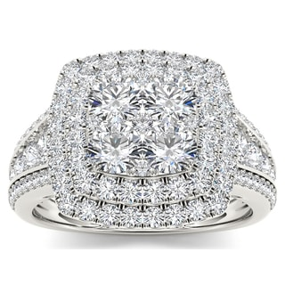 De Couer 10k White Gold 1 1/2ct TDW Diamond Double Halo Ring