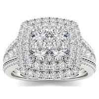 De Couer 10k White Gold 1 1/2ct TDW Diamond Double Halo Ring