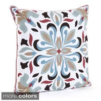 Motif Embroidered Down Filled Throw Pillow