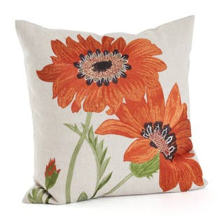 Embroidered Floral 18-inch Throw Pillow (3 options available)