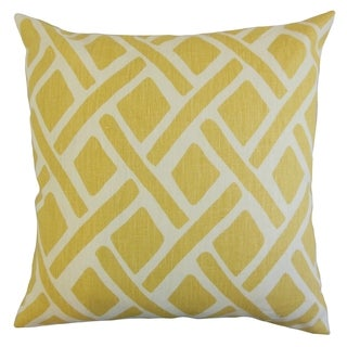 Satchel 18-inch Feather Filled Geometric Sunflower Throw Pillow