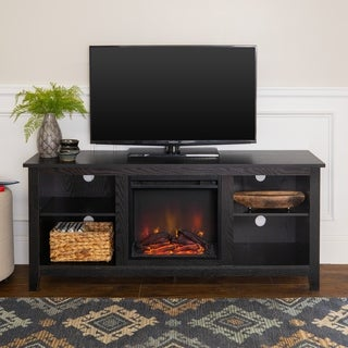 "58"" Fireplace TV Stand Console - Black - 58 x 16 x 24h"
