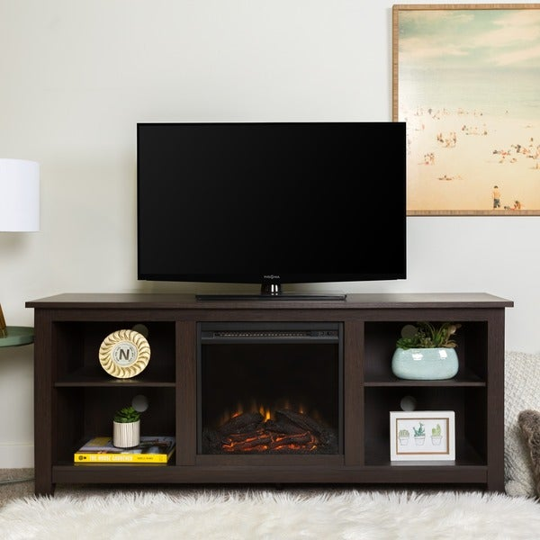 Shop 58 Quot Fireplace Tv Stand Console Espresso 58 X 16 X
