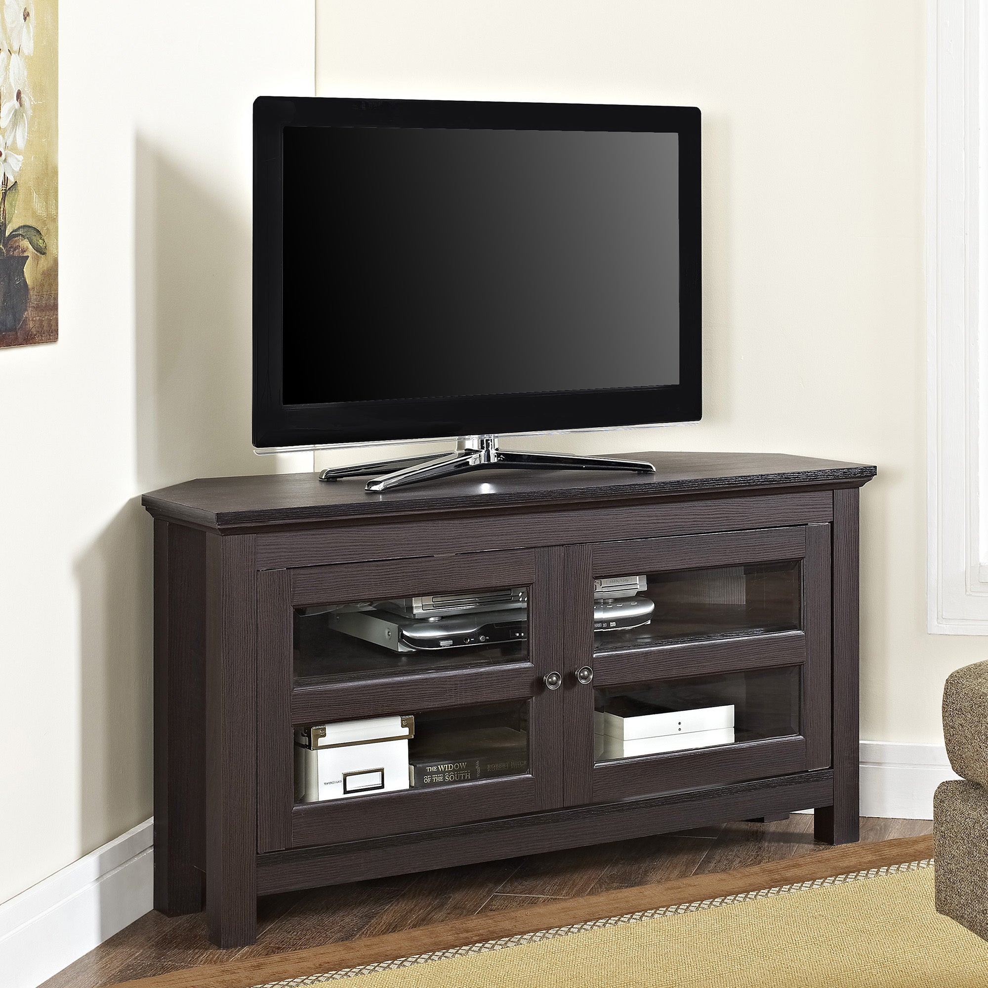 Shop Espresso Wood 44 Inch Corner Tv Stand Free Shipping On Orders