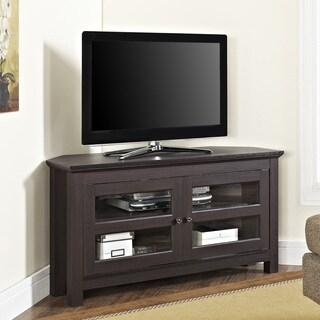 44 Inch Espresso Corner Wood TV Stand