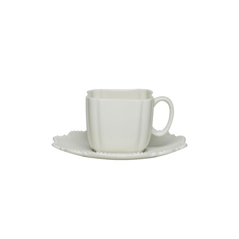 Red Vanilla Pinpoint White 3-ounce Espresso Cup and Saucer (Set of 6)