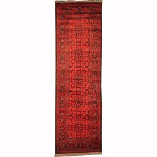 Herat Oriental Afghan Hand-knotted Tribal Khal Mohammadi Red/ Navy Wool Rug (2'11 x 9'6)
