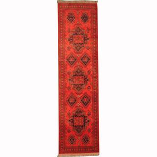 Herat Oriental Afghan Hand-knotted Tribal Khal Mohammadi Red/ Navy Wool Rug (2'6 x 9'7)