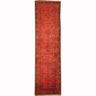 Herat Oriental Afghan Hand-knotted Tribal Khal Mohammadi Red/ Navy Wool Rug (2'8 x 9'9)