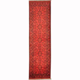 Herat Oriental Afghan Hand-knotted Tribal Khal Mohammadi Red/ Navy Wool Rug (2'9 x 9'8)