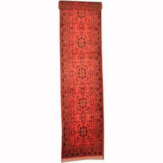 Herat Oriental Afghan Hand-knotted Tribal Khal Mohammadi Red/ Navy Wool Rug (2'8 x 5'11)
