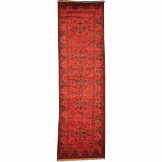 Herat Oriental Afghan Hand-knotted Tribal Khal Mohammadi Red/ Navy Wool Rug (2'10 x 9'6)