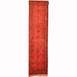 Herat Oriental Afghan Hand-knotted Tribal Khal Mohammadi Red/ Navy Wool Rug (2'7 x 15'5)