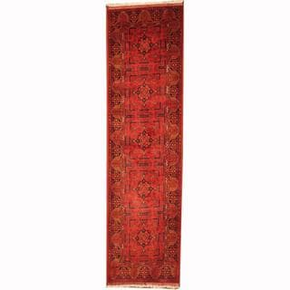 Herat Oriental Afghan Hand-knotted Tribal Khal Mohammadi Red/ Black Wool Rug (2'6 x 9'4)