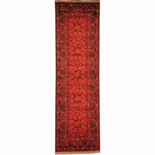 Herat Oriental Afghan Hand-knotted Tribal Khal Mohammadi Red/ Navy Wool Rug (2'9 x 9'4)