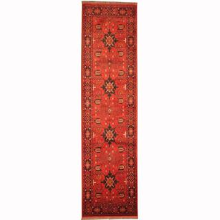 Herat Oriental Afghan Hand-knotted Tribal Khal Mohammadi Red/ Navy Wool Rug (2'6 x 9'8)