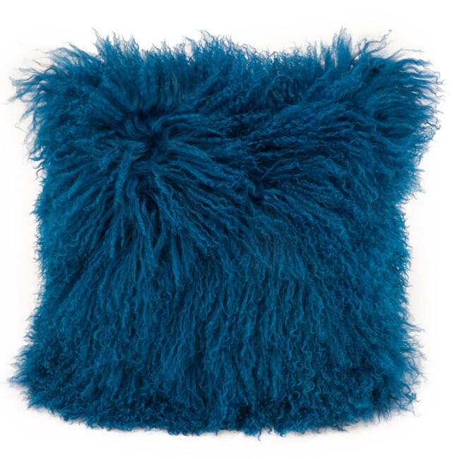 Aurelle Home Soft Mongolian Faux Lamb Pillow (Blue), Size...